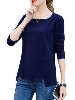 Solid Color Square Collar Long Sleeve Blouse