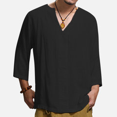 Mens Casual Cotton Linen T-shirt Loose V-neck Tops Long Sleeve Tee Shirt