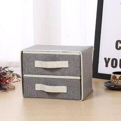 Camadas duplas de armazenamento de linho sujeira-resistente Caixa Desktop estacionária Underwear Bras Storage Caixa