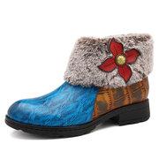 SOCOFY cuir de vache super chaud épissage bouton rétro doublure florale fourrure couture bottes à fermeture éclair cheville