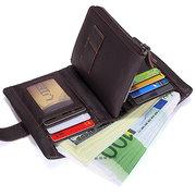 Borsa Portafoglio di fascia alta del supporto di carta del cuoio genuino degli uomini