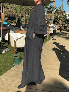 Bohemian Lace Long Sleeve Pockets Maxi Dress