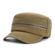 Men Vintage Cotton Zippered Military Hat Outdoor Casual Sunshade Flat Cap