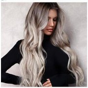 Gradient Big Wavy Long Curly Hair Dyed Wig Black Gray Mixed Color Chemical Fiber Wig