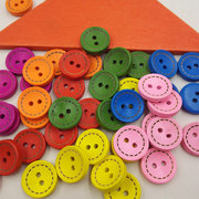 100Pcs Rainbow Color Wooden Sewing Buttons Round Two Hole Knitting Sewing DIY Materials