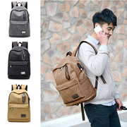Portable Charged External USB Place Backpack Lightweight Canvas Women Men Bag