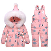 Dot Pattern Thick Warm Girls Down Snow Outerwear Clothing Set For 0-36M