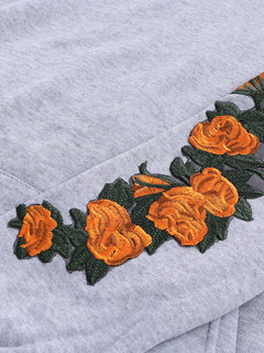 Embroidery Floral Long Sleeve Hooded Sweatshirt