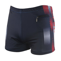 Plus Tamaño Hot Spring Zipper Pocket Shorts Surf Swimming Printing Boxers Swim Trunks para Hombres