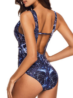 Printed Backless Gather Cover Belly One Piece Swimsuit Swimwear For Women