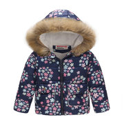 Faux Fur Winter Coat Girls Boys Floral Thicken Jackets For 2Y-9Y