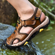 Men Genuine Leather Non Slip  Large Size Soft Sole Hook Loop Outdoor Sandals