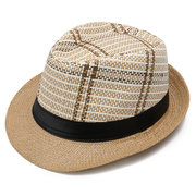 Men Classic Straw Sunscreen Jazz Top Cap Outdoor Summer Casual Travel Breathable Hat