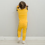 Kids 2 Pcs Pajama Set Bruce Lee Yellow Long Sleeve Top Pants Boys Girls Sleepwear Set