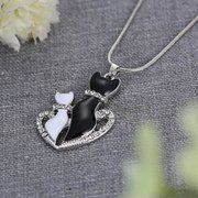 Sweet Heart Necklace Couple Cats Pendant Lovers Couple Necklace Women Jewelry Gift