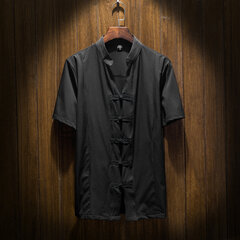 Chinese Buttons Vintage Stand Collar Linen Shirts for Men