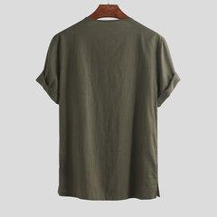 Mens Summer 100% Baumwolle Einfarbig Kurzarm Stehkragen Shirt