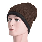Mens Winter Solide Warm Skullies Mützen Hut Outdoor Casual Dick Gestrickt Hut Warmer Schal