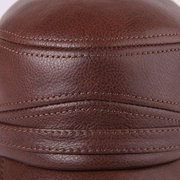 Mens Vintage Casual Comfortable Winter Thick Warm Leather Plush Flat Hat Outdoor Protect Ear Cap
