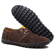 Men Hand Stitching Suede Soft Sole Lace Up Casual Shoes