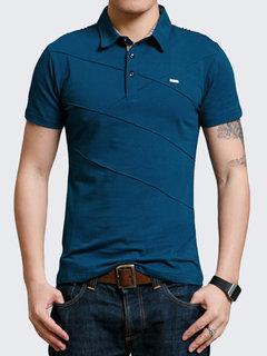 Golf da uomo casual manica corta girocollo a righe in cotone casual business Camicia