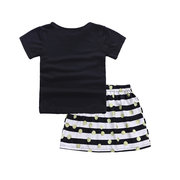 Striped Summer Style Kid Sister Clothing Set For Girls 0-9 Years