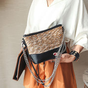 Straw Beach Borsa Patchwork Shoulder Borsa Chain Crossbody Borsas Bucket Borsa