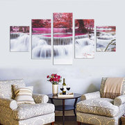 5Pcs Forest Waterfall Canvas Painting Frameless Wall Art Bedroom Living Room Home Decor
