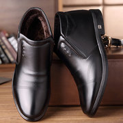 Men Warm Plush Lining Pointed Toe Ankle Dress Boots