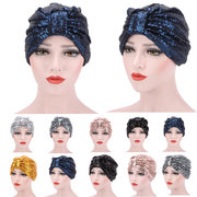 Women Colorful Bright Sequin Hedging Cap Breathable Street Shot Skullies Beanies Head Hat