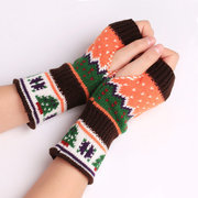 Women Stylish Hand Warmer Winter Gloves Arm Knitting Cartoon Christmas Tree Fingerless Gloves