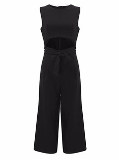 Sexy Solid Sleeveless Hollow Out Bow Wide Leg Overalls Zipper Jumpsuit
