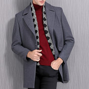 Mens Mid Long Woolen Slim Fit Coat Shawl Lapel Business Casual Trench Coat