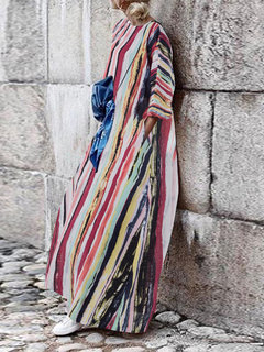 Bohemian Muti Color Striped Loose Baggy Plus Größe Maxi Kleid
