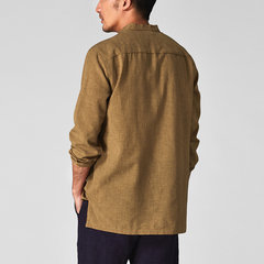 Mens Casual Shirt Soild Color Cotton Linen Long Sleeve Shirts