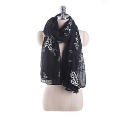 Vintage Style Flower Embroidered Women Scarfs Oversized Long Cotton Casual Retro Shawls Scarf