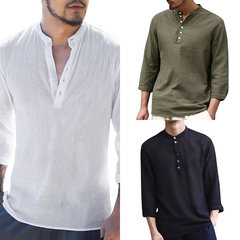 Mens Summer Thin Breathable Stand Collar Solid Color Half Sleeve Casual T shirts