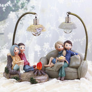 Couple Night Light Resin Crafts Ornaments Retro Lovers Miniature Figurines LED Lamp Ideal Gifts
