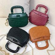 Women Vintage Handbag Crocodile Pattern Chic PU Leather Crossbody Bag