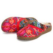 Loafers sem costas de costura feitos a mão Folkways bordados