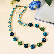 JASSY Luxury Crystal Necklaces Gradient Colorful Gold Collar Necklace Statement Jewelry for Women