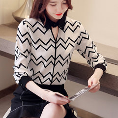 New Fresh Striped Shirt Women's Long-sleeved Shirt Shirt Tops White Shirt Women