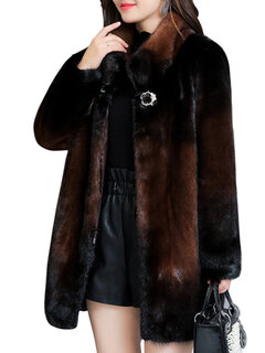 Elagant Faux Fur High Neck Coat for Women
