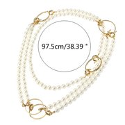 JASSY® Fashion 18K Gold Geometric Statement Necklace Pearls Long Necklace Gift for Women