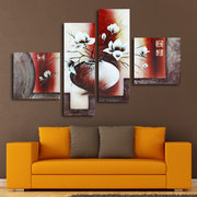 4Pcs Modern Abstract Canvas Painting Frameless Wall Art Flowers Bedroom Living Room Home Decor