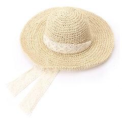النساء طوي الرباط التعادل اليدوية سترو قبعة الشمس السفر شاطئ البحر قبعة