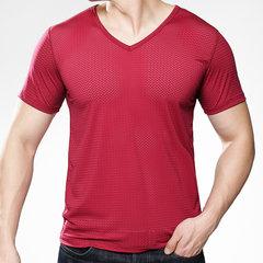 Manga corta de cuello en V de seda de hielo de verano para hombre Aptitud Camisetas deportivas Malla transpirable Delgado Tops ajustados