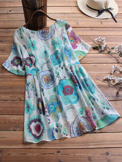 Summer Floral Print Short Sleeve Plus Size Blouse