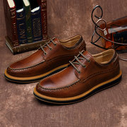 Men Cow Leather British Style Carved Pattern Casual Shoes
