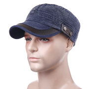 Men Vogue Adjustable Windproof Cotton Washed Flat Cap Simple Style Outdoor Casual Travel Sun Hat